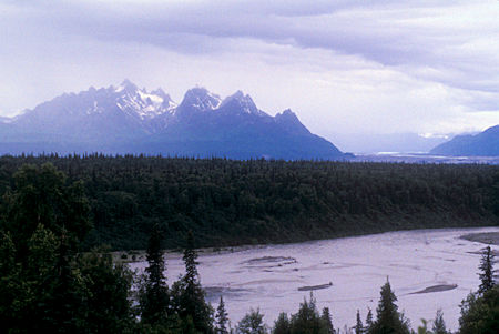 View over Chulitna River from Denali State Park, Alaska
