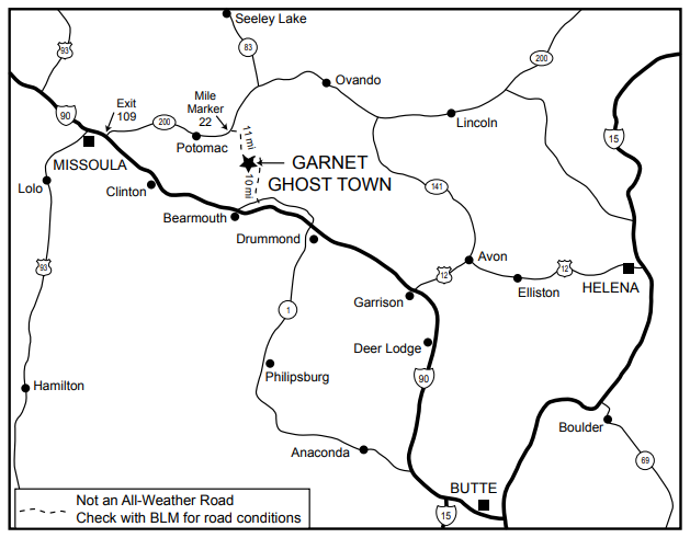 Garnet Ghost Town location map