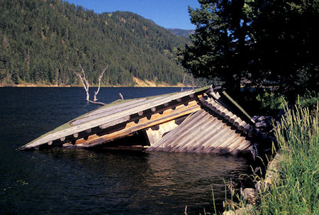 Cabins collapsed into Hebgen Lake during the quake