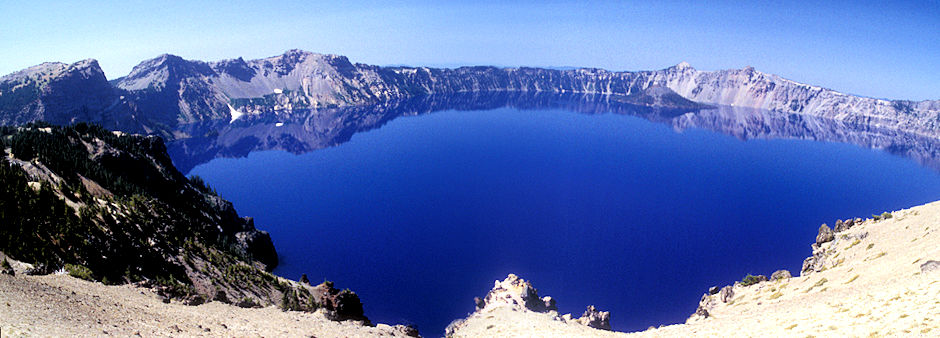 Wizard Island on right with The Watchman and Mt. Hillman above, Crater Lake, Crater Lake National Park, Oregon 1998