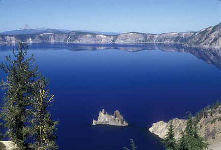 'Phantom Ship' in Crater Lake, Mt Thielson in distance, Crater Lake National Park, Oregon 1998